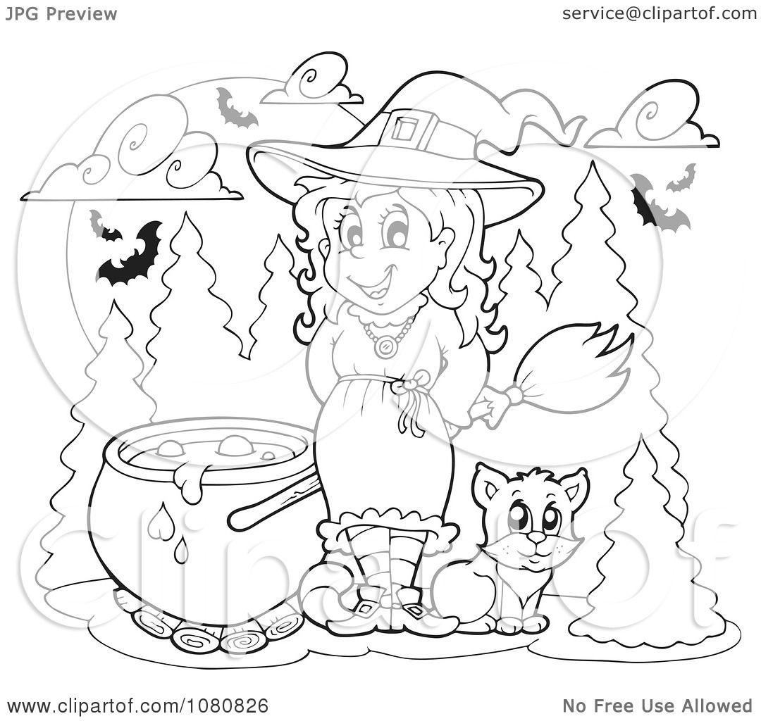Clipart Outlined Halloween Witch With A Cauldron - Royalty ...