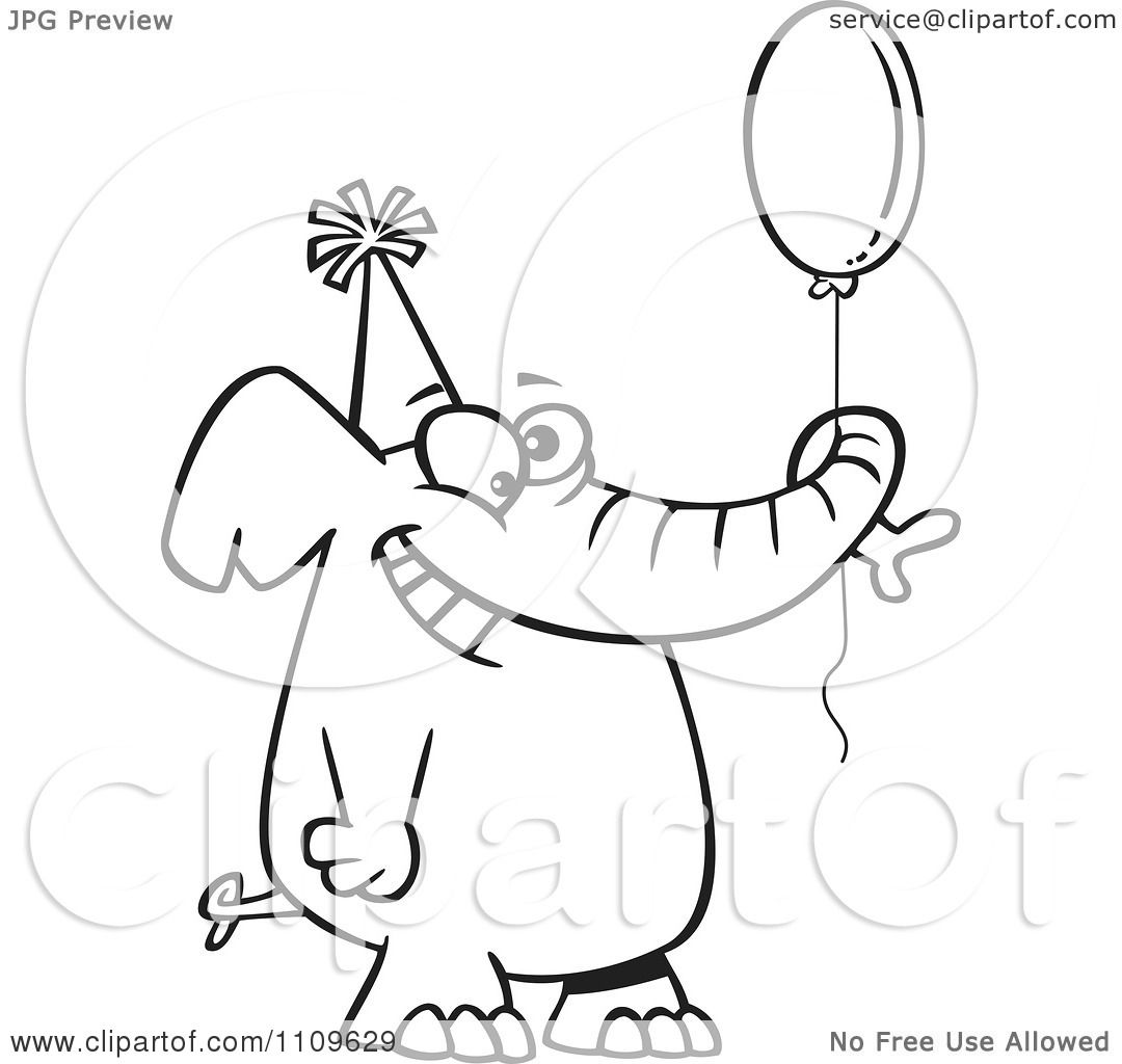 Clipart Outlined Happy Birthday Elephant Holding A Balloon ...