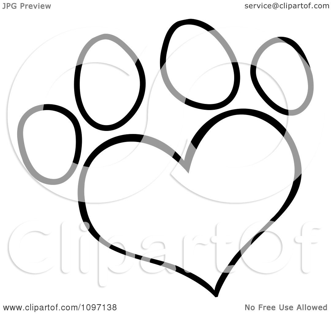 Clipart Outlined Heart Shaped Dog Paw Print Royalty Free Vector Illustration By Hit Toon 1097138