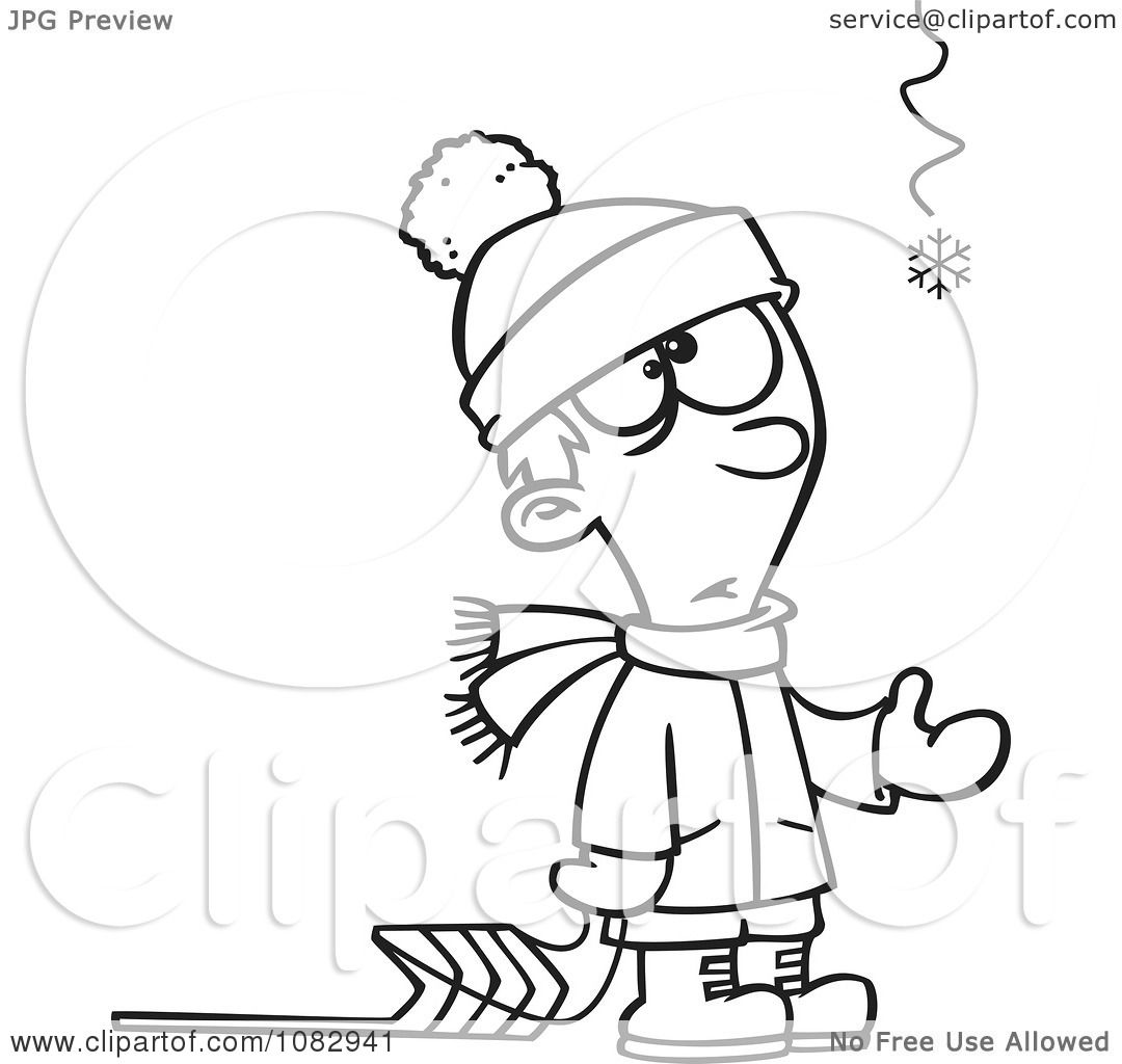 clipart outlined hopeful boy with a sled and one snowflake
