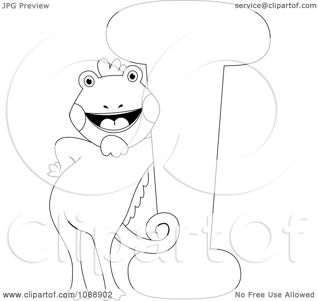 Clipart Outlined I Is For Iguana Coloring Page - Royalty Free ...