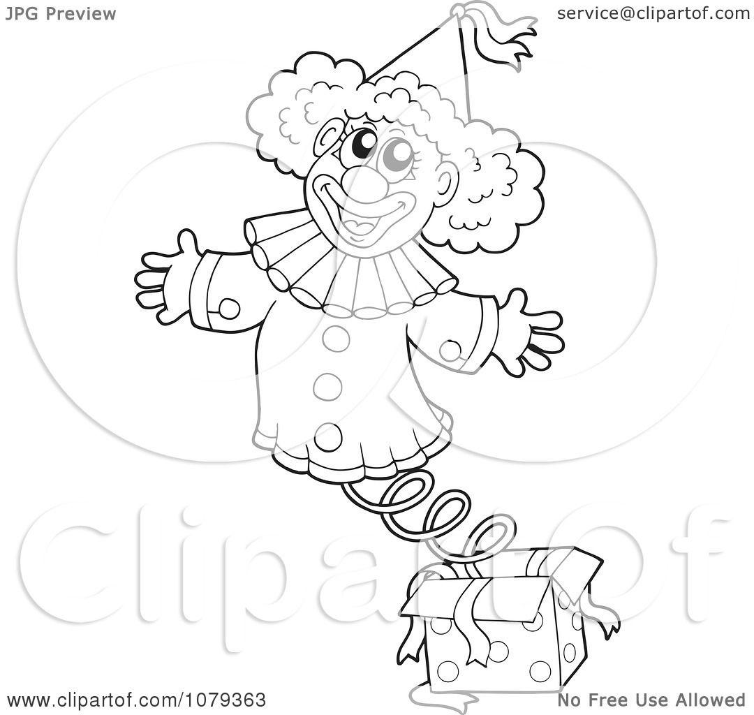 clipart outlined jack in the box clown royalty free vector illustration by visekart 1079363. Black Bedroom Furniture Sets. Home Design Ideas