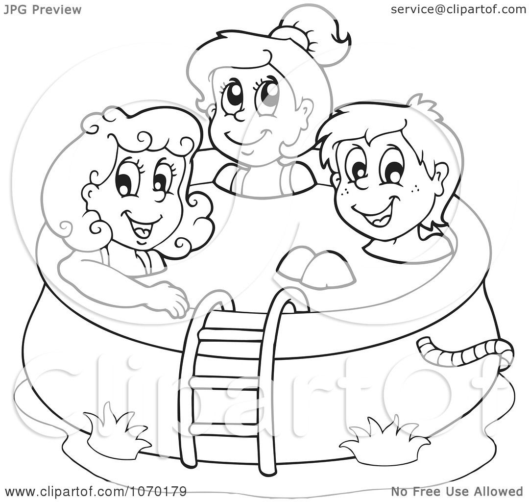 Clipart Outlined Kids In A Swimming Pool Royalty Free