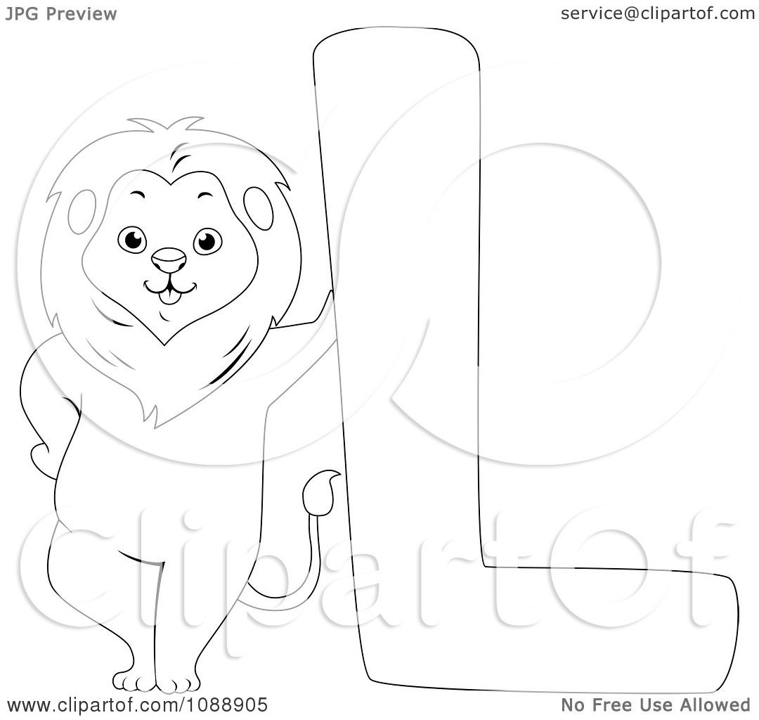 clipart outlined l is for lion coloring page royalty free vector