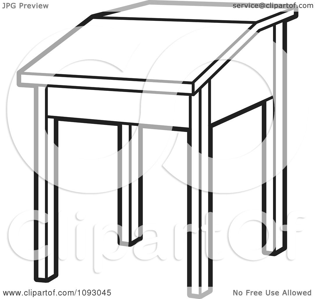 Clipart Outlined Lift Top School Desk - Royalty Free Vector ... for School Table Clipart  76uhy