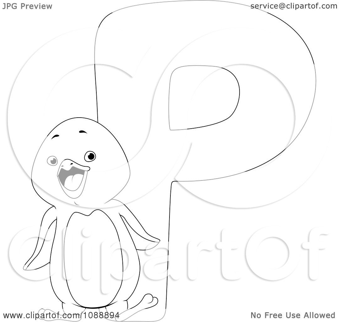 clipart outlined p is for penguin coloring page royalty free