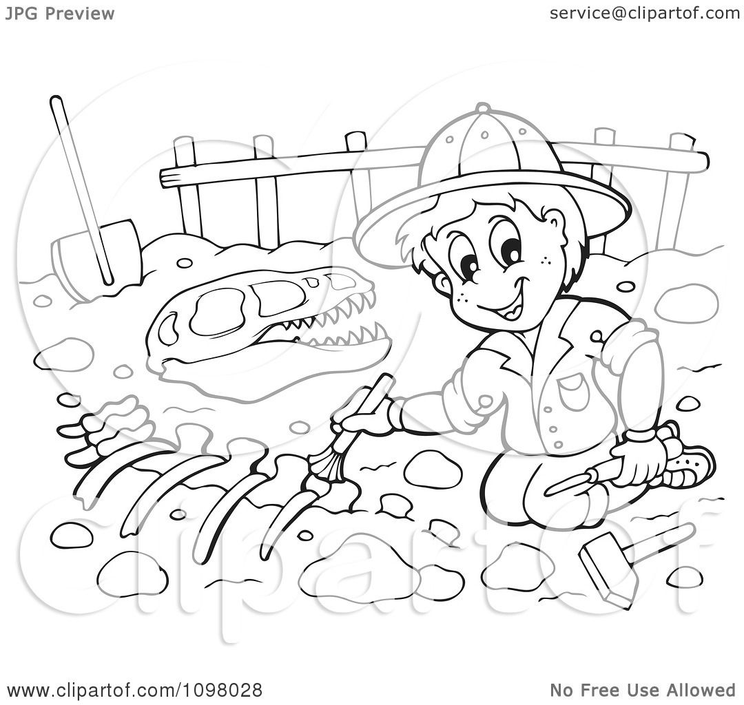 Clipart Outlined Paleontologist