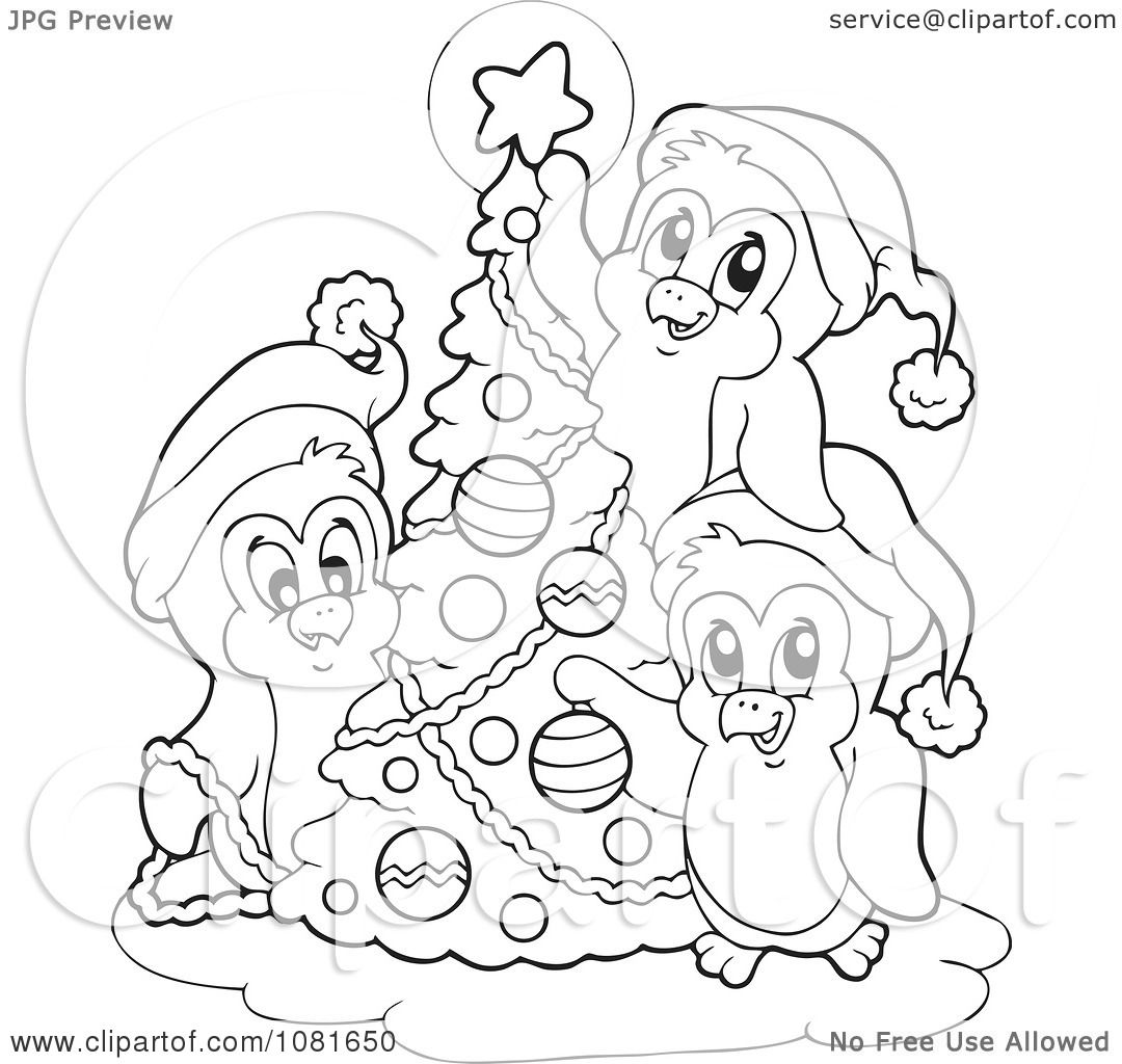 club penguin christmas coloring pages | Clipart Outlined Penguins Decorating A Christmas Tree ...