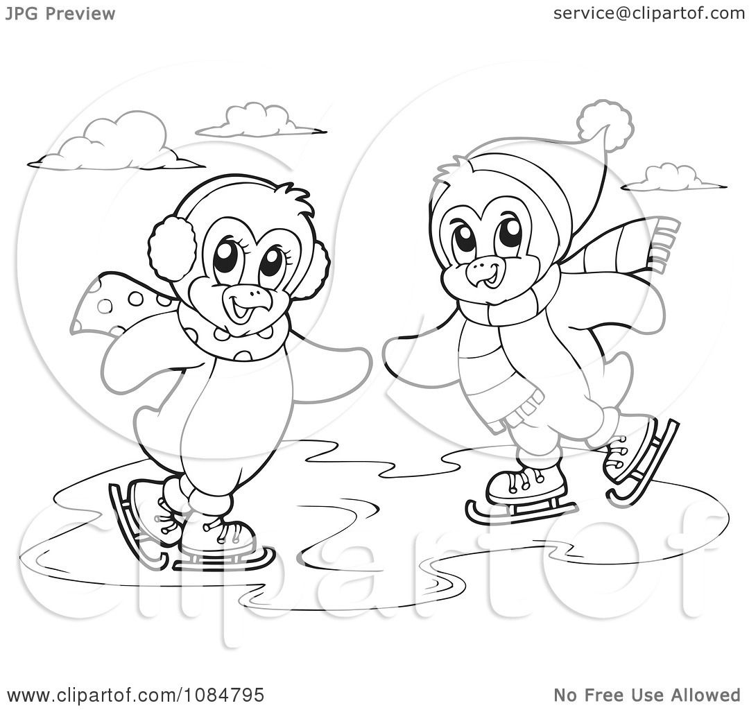 penguins ice skating coloring pages - photo#14