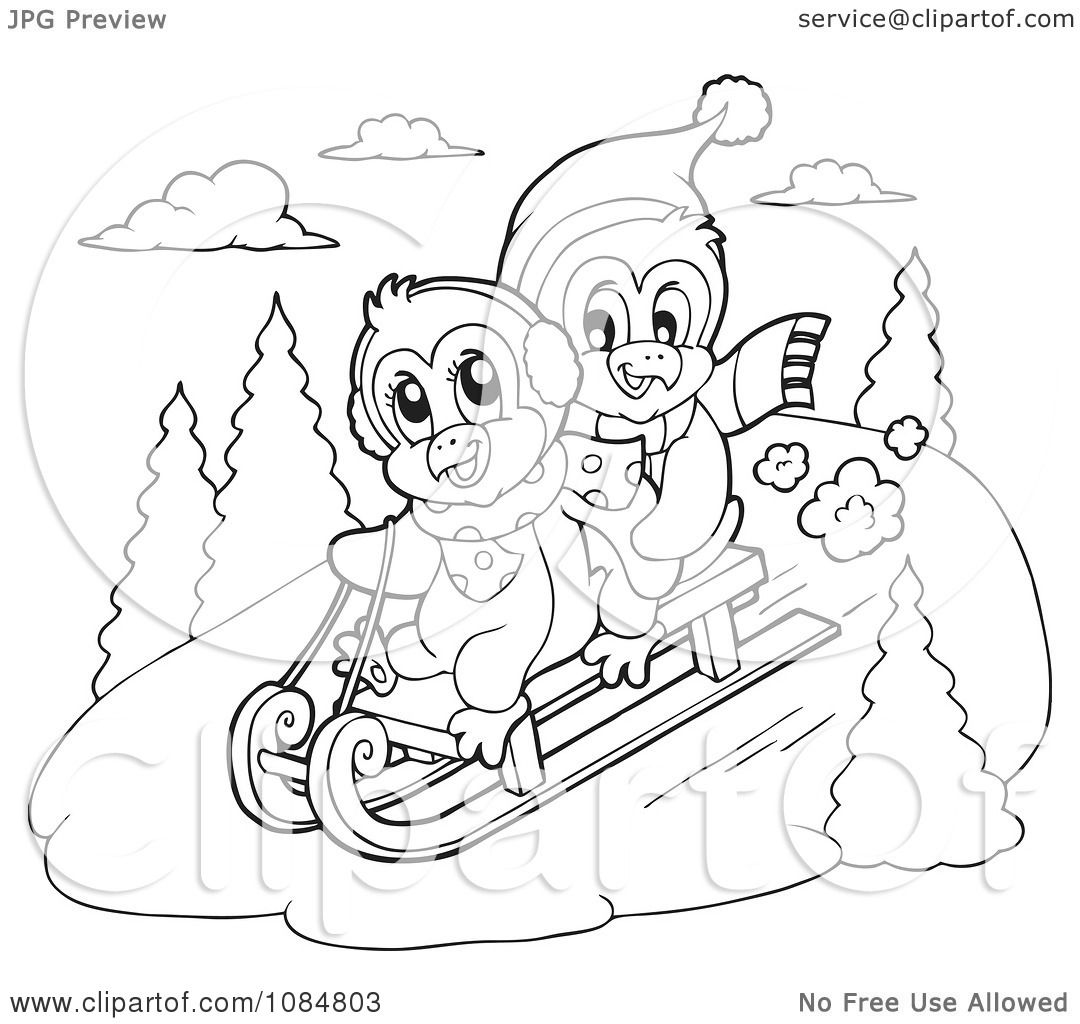 clipart outlined penguins sledding royalty free vector