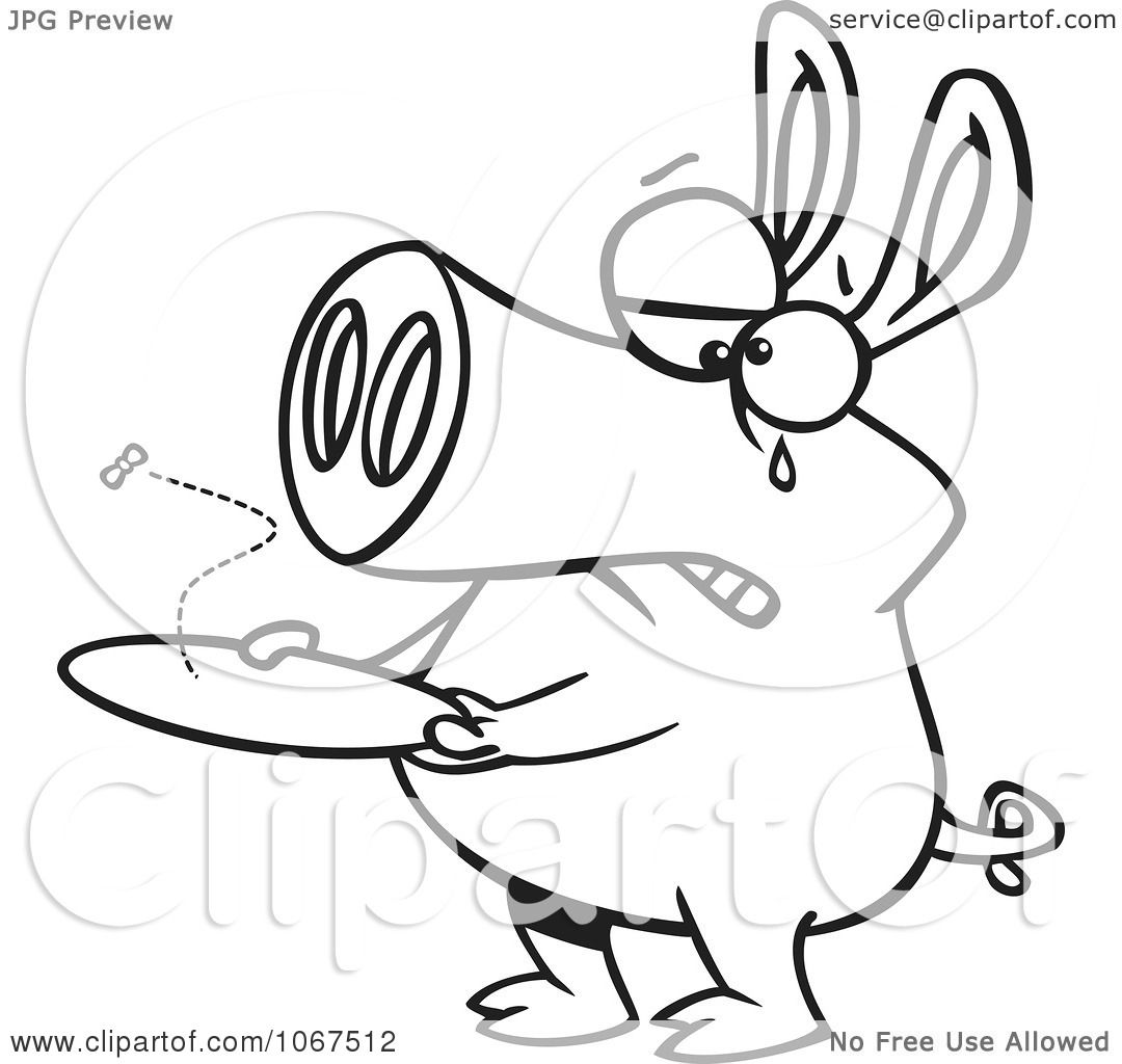 Clipart Outlined Pig With An Empty Plate Royalty Free Vector