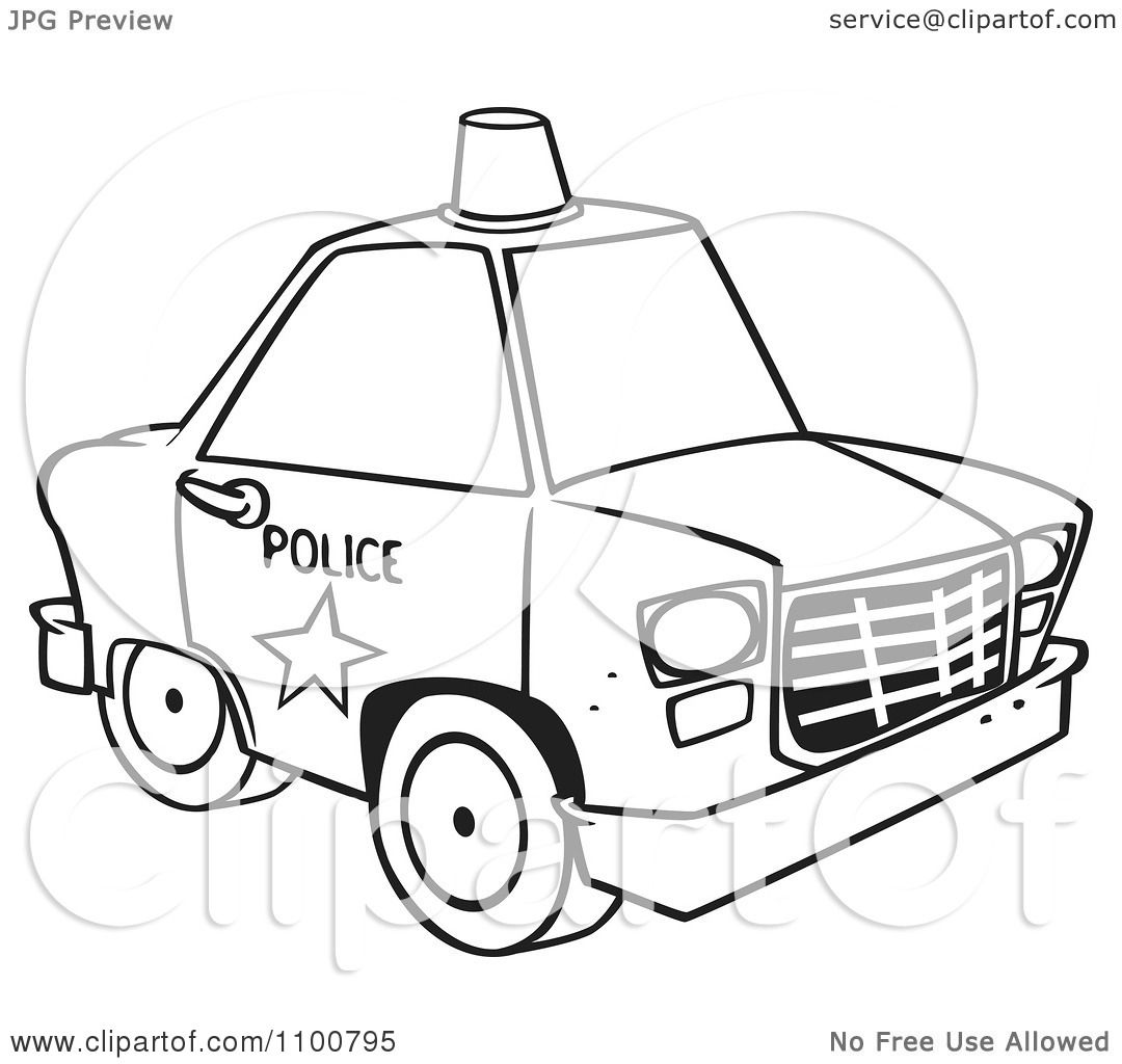 clipart outlined police car with a siren cone on the roof