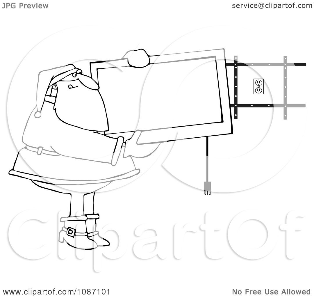 clipart outlined santa installing a wall mount tv
