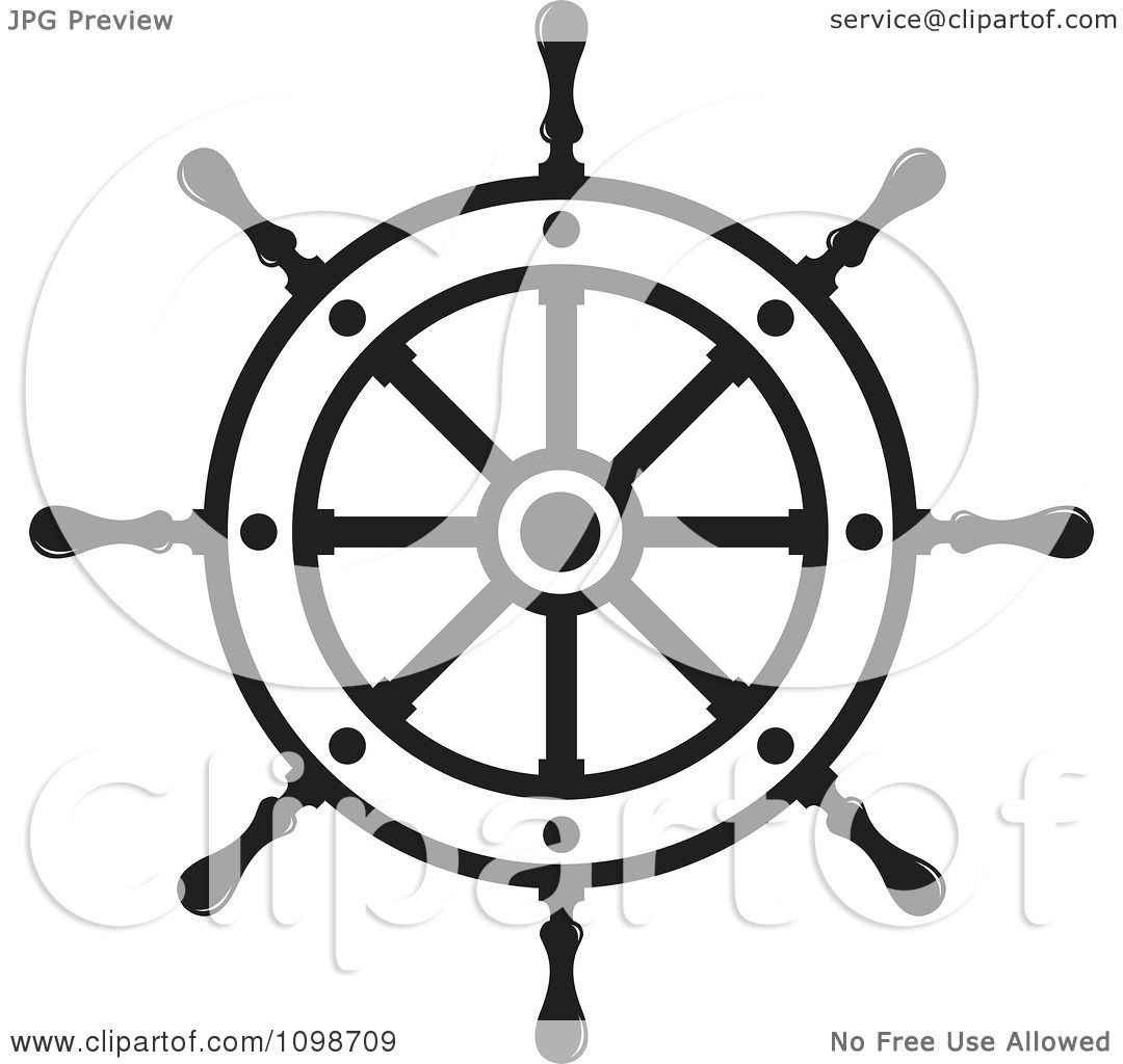 Clipart Outlined Ship Helm Wheel - Royalty Free Vector ...
