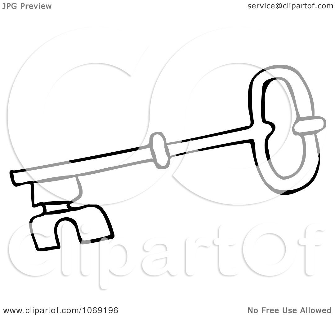 Vector Key Illustration: Clipart Outlined Skeleton Key 4