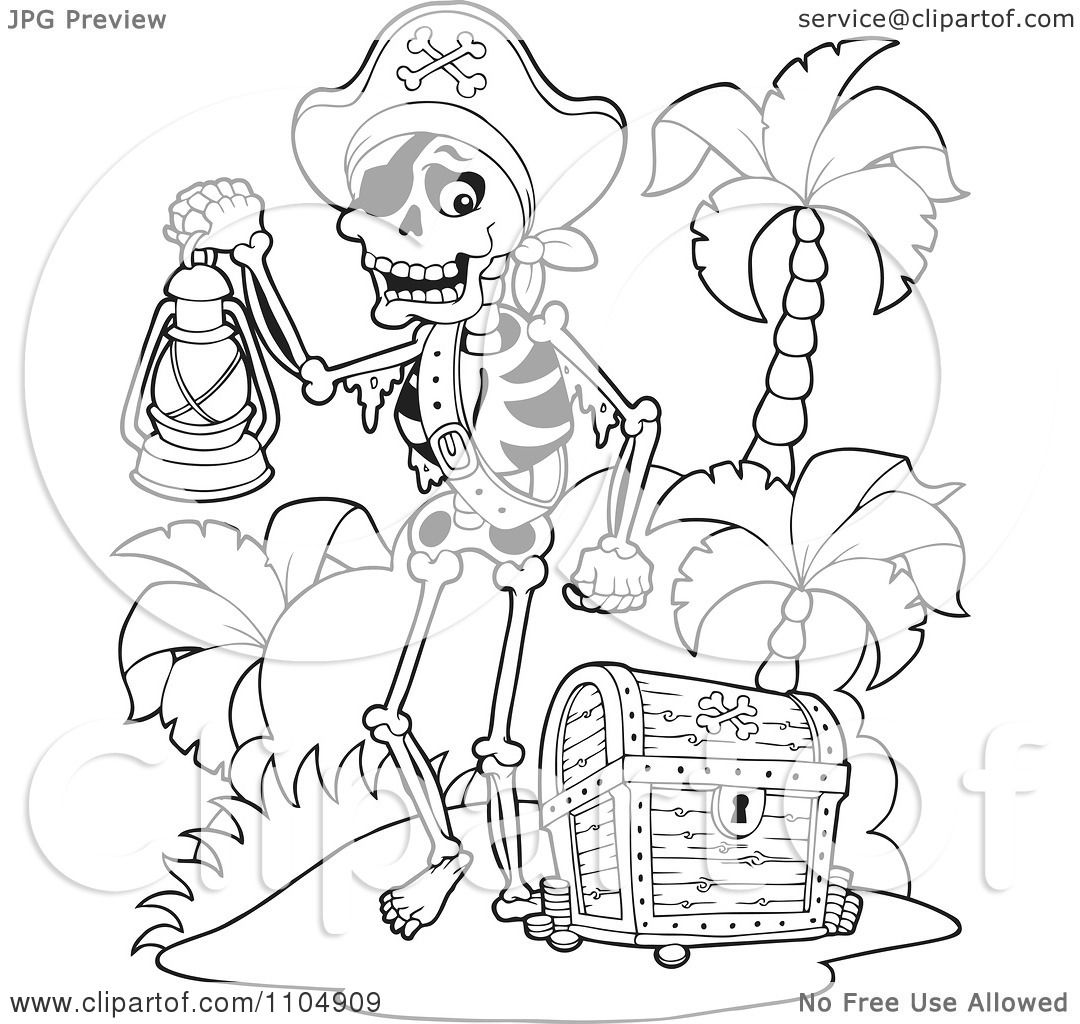 Clipart Outlined Skeleton Pirate Carrying A Lamp On A