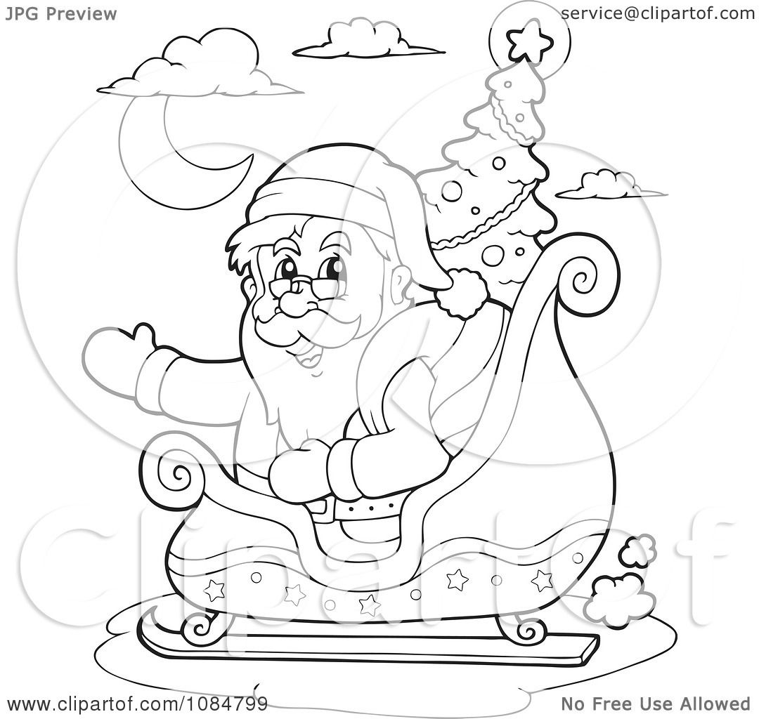 Clipart Outlined Waving Santa In His Sleigh With A Christmas Tree ...