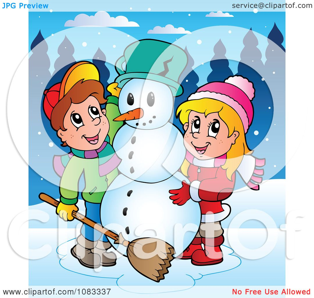 Clipart Outlined Winter Kids Making A Snowman Royalty Free Vector