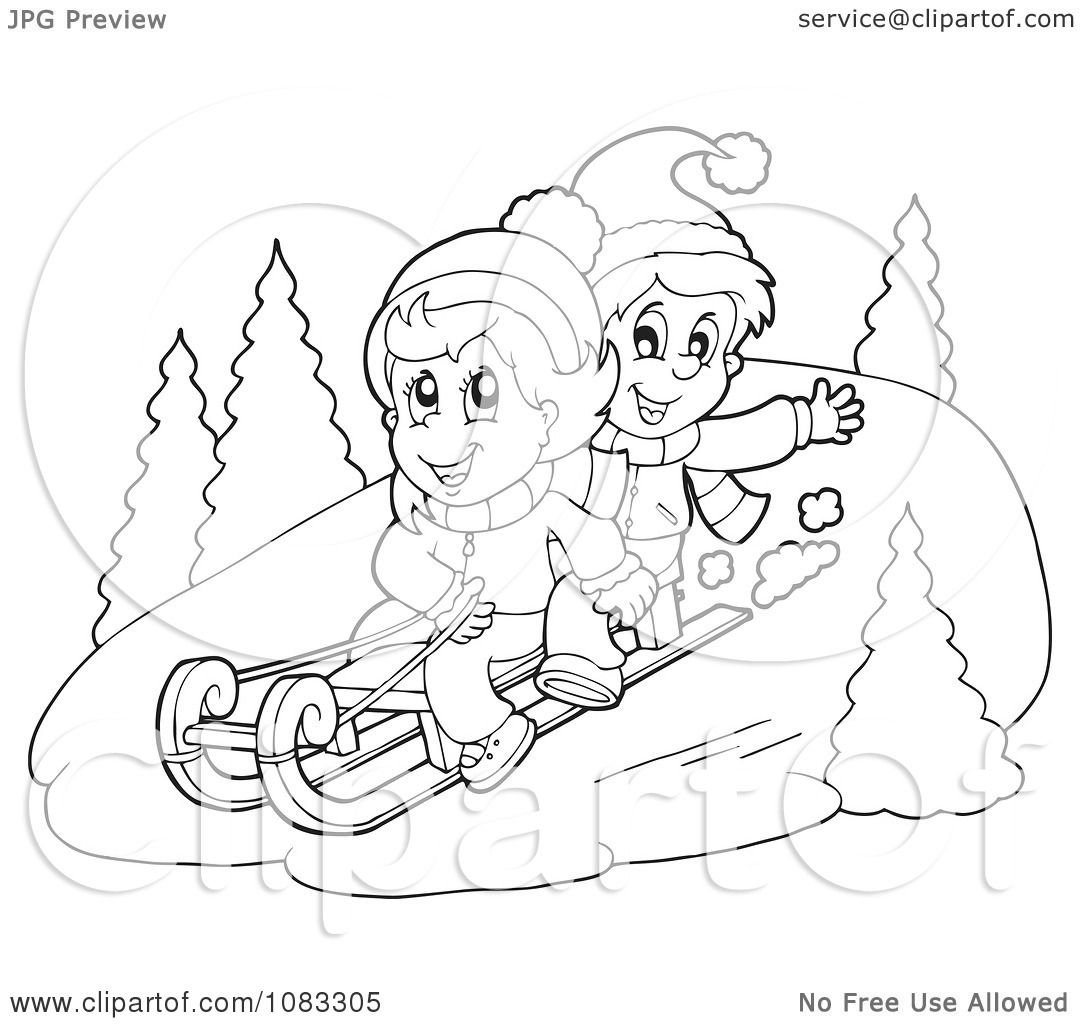clipart outlined winter kids sledding in the snow royalty free