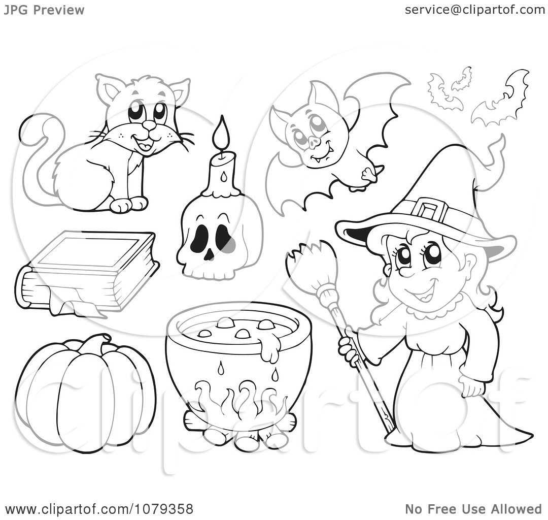 clipart outlined witch and halloween items royalty free vector illustration by visekart - Halloween Items