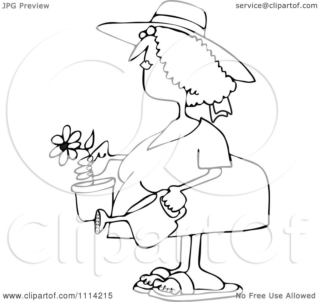 clipart outlined woman holding a potted flower and watering can