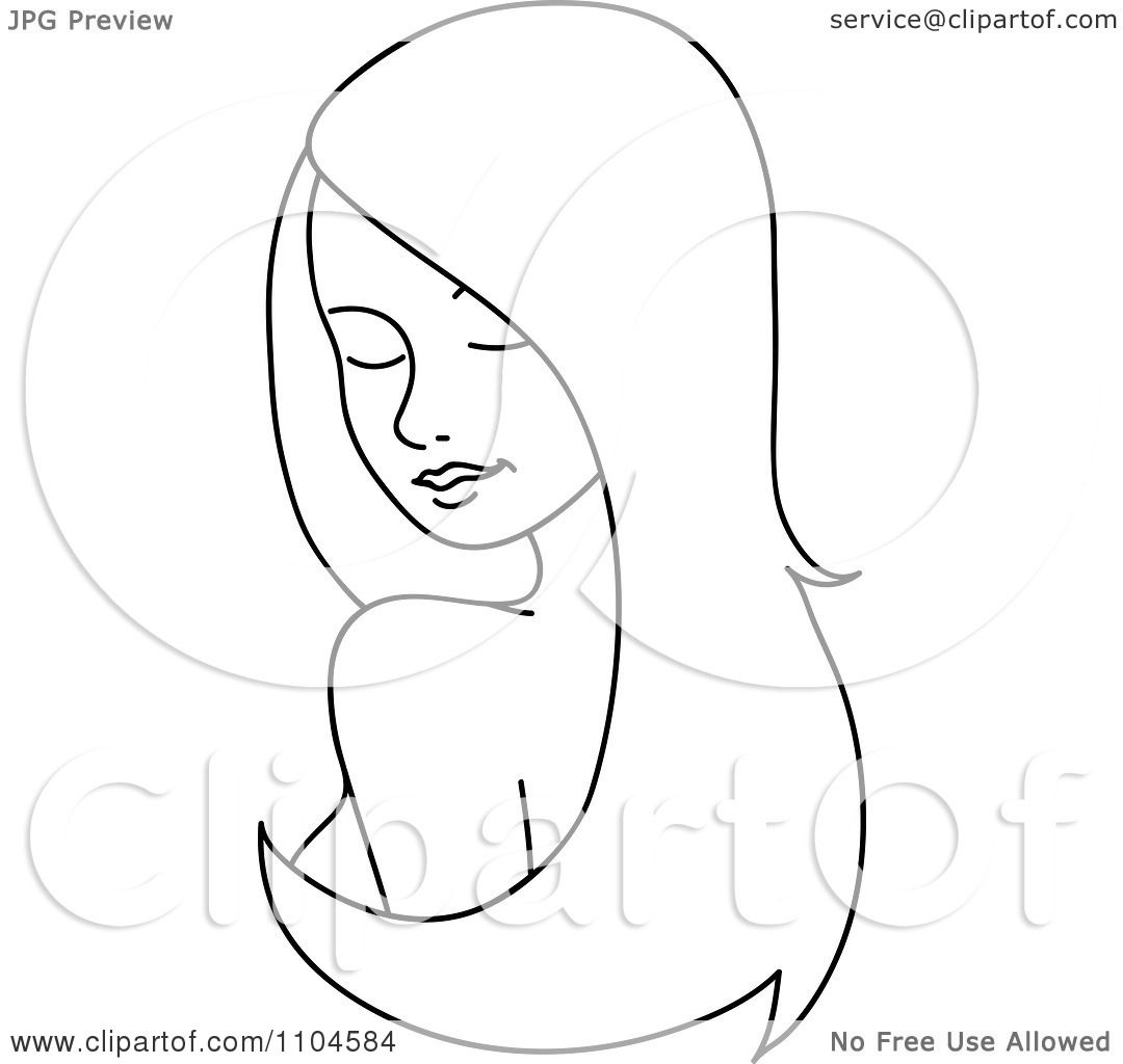 clipart outlined woman looking over her shoulder with long