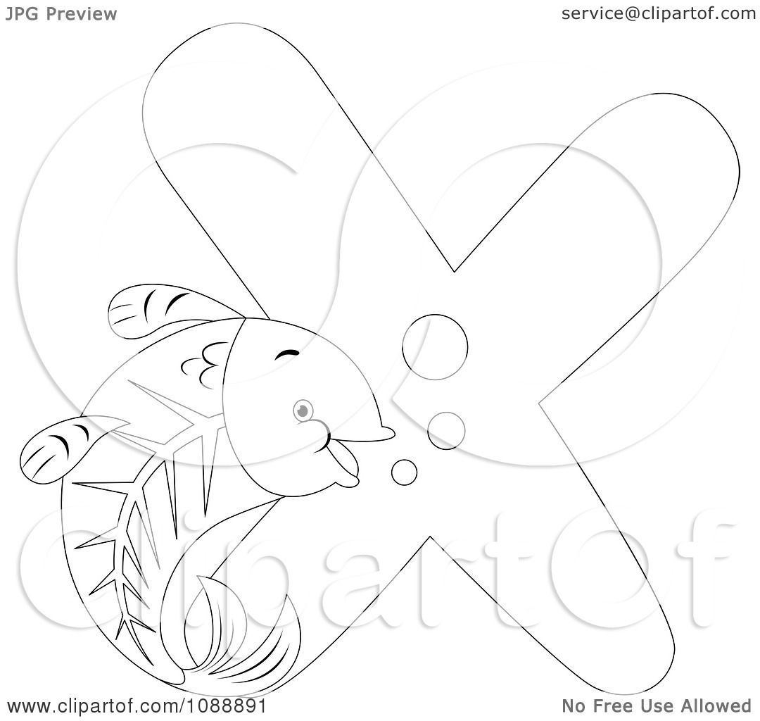 Free coloring pages x ray - Clipart Outlined X Is For X Ray Fish Coloring Page Royalty Free Vector Illustration By Bnp Design Studio