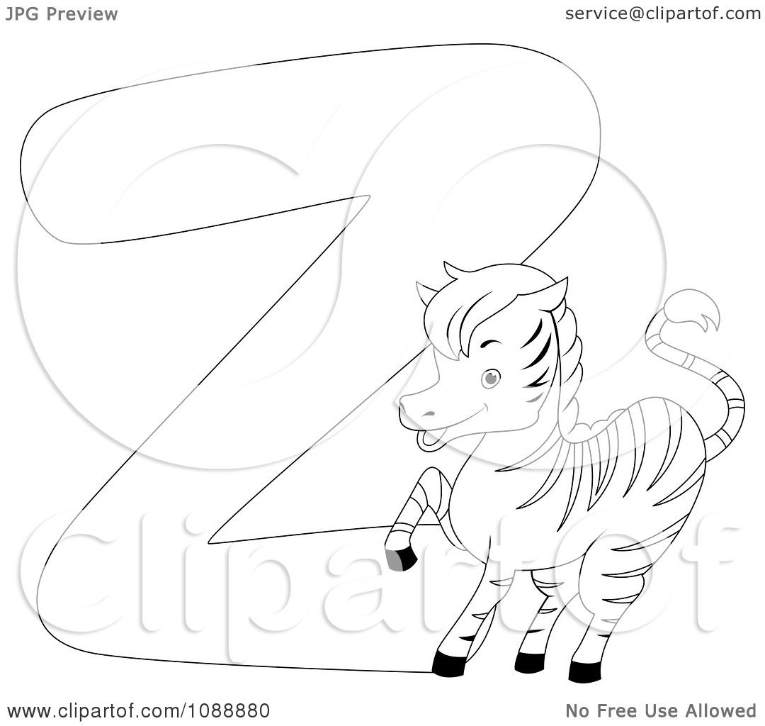clipart outlined z is for zebra coloring page royalty free