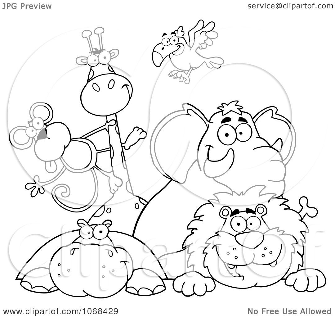 Clipart Outlined Zoo Animals Over A Sign 1 - Royalty Free ...