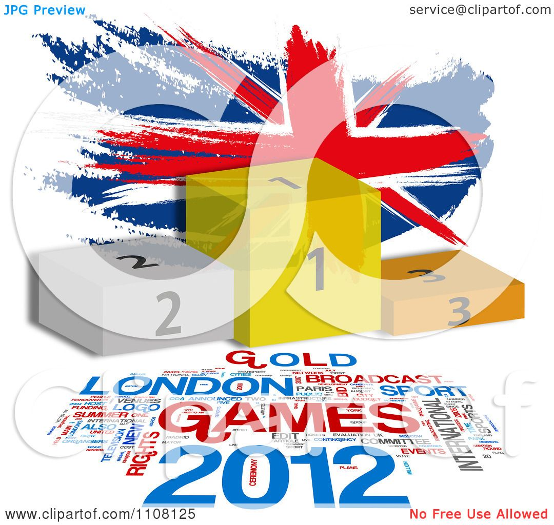 Clipart Painted Union Jack Flag With Placement Podiums And ...