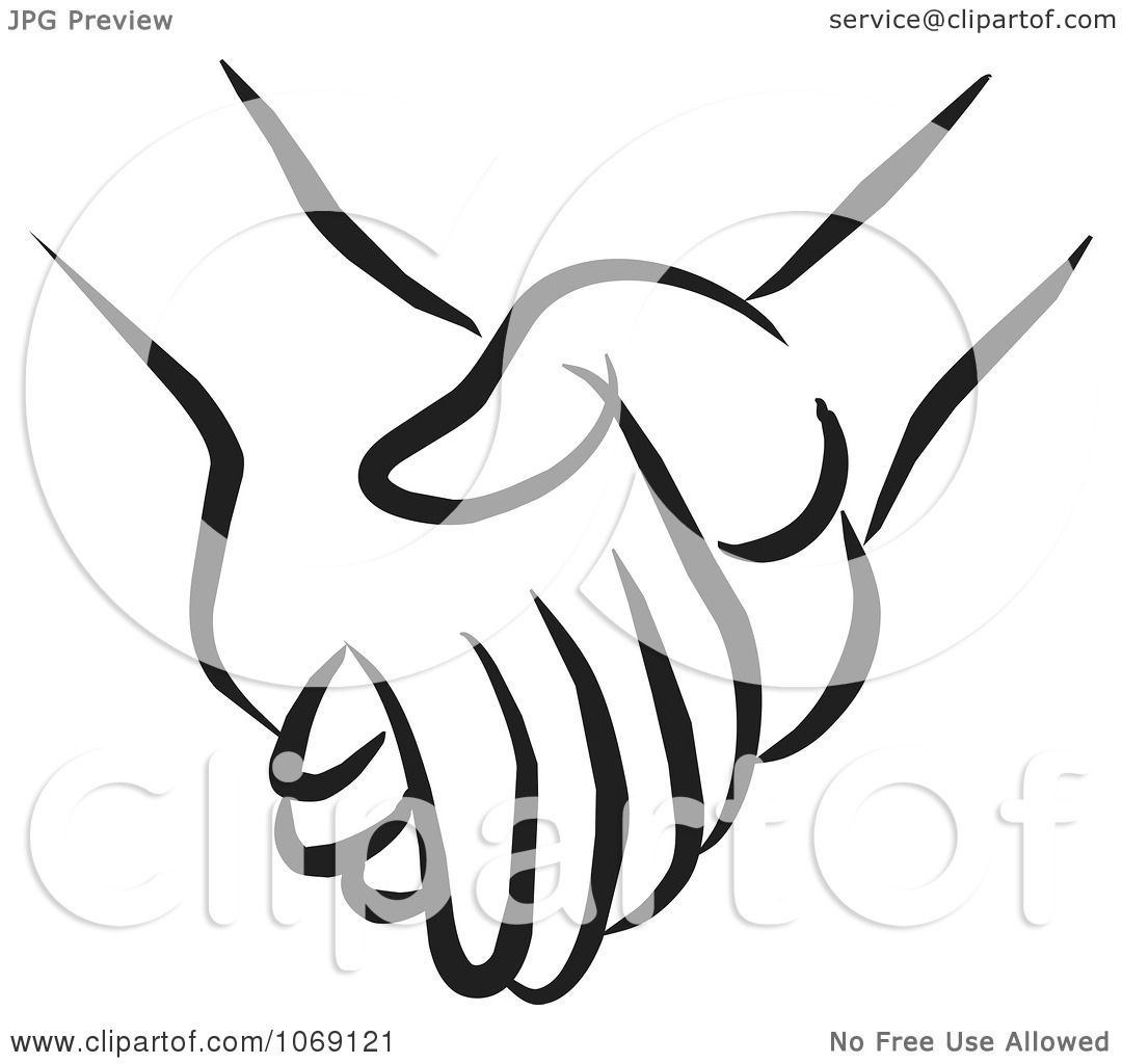 Clipart Pair Of Holding Hands - Royalty Free Vector ...