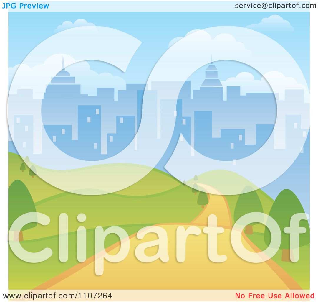 Clipart Path Through A Hilly Park With A City Skyline Background ...