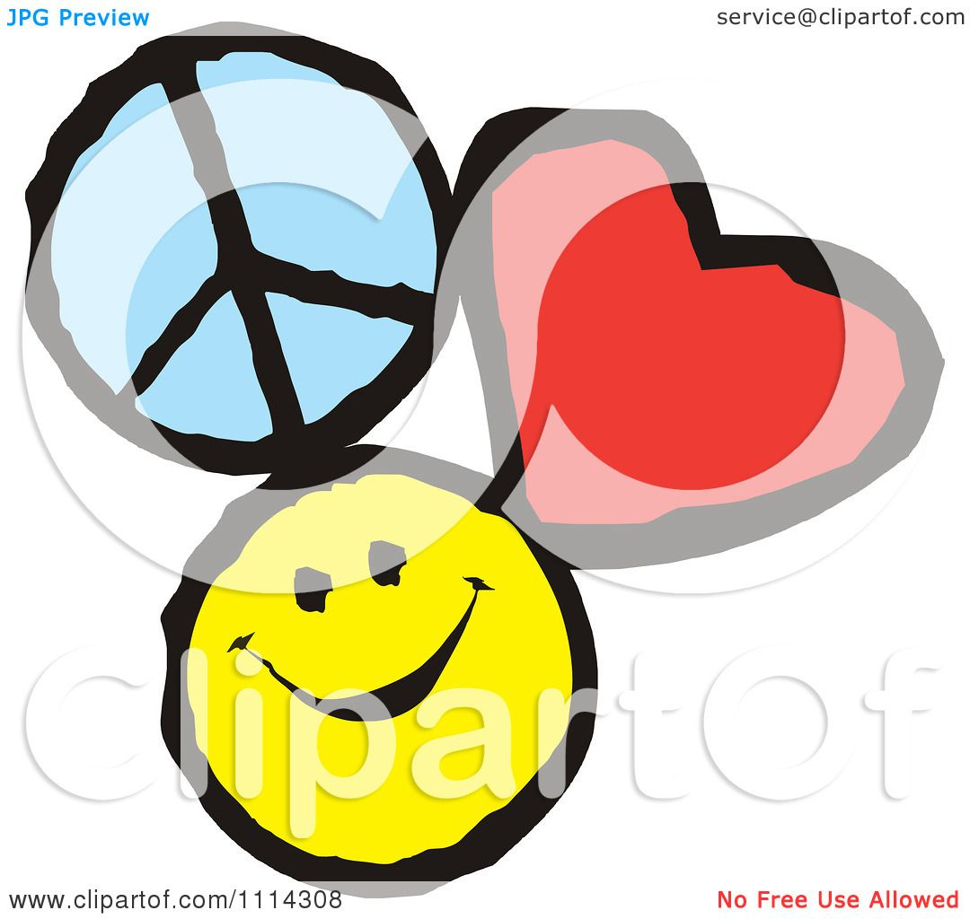 Clipart Peace Love And Happiness Icons - Royalty Free ...