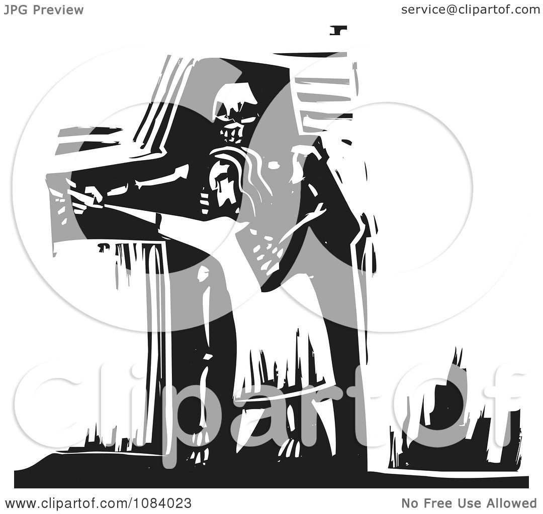 Clipart Person Dancing With Death Black And White Woodcut