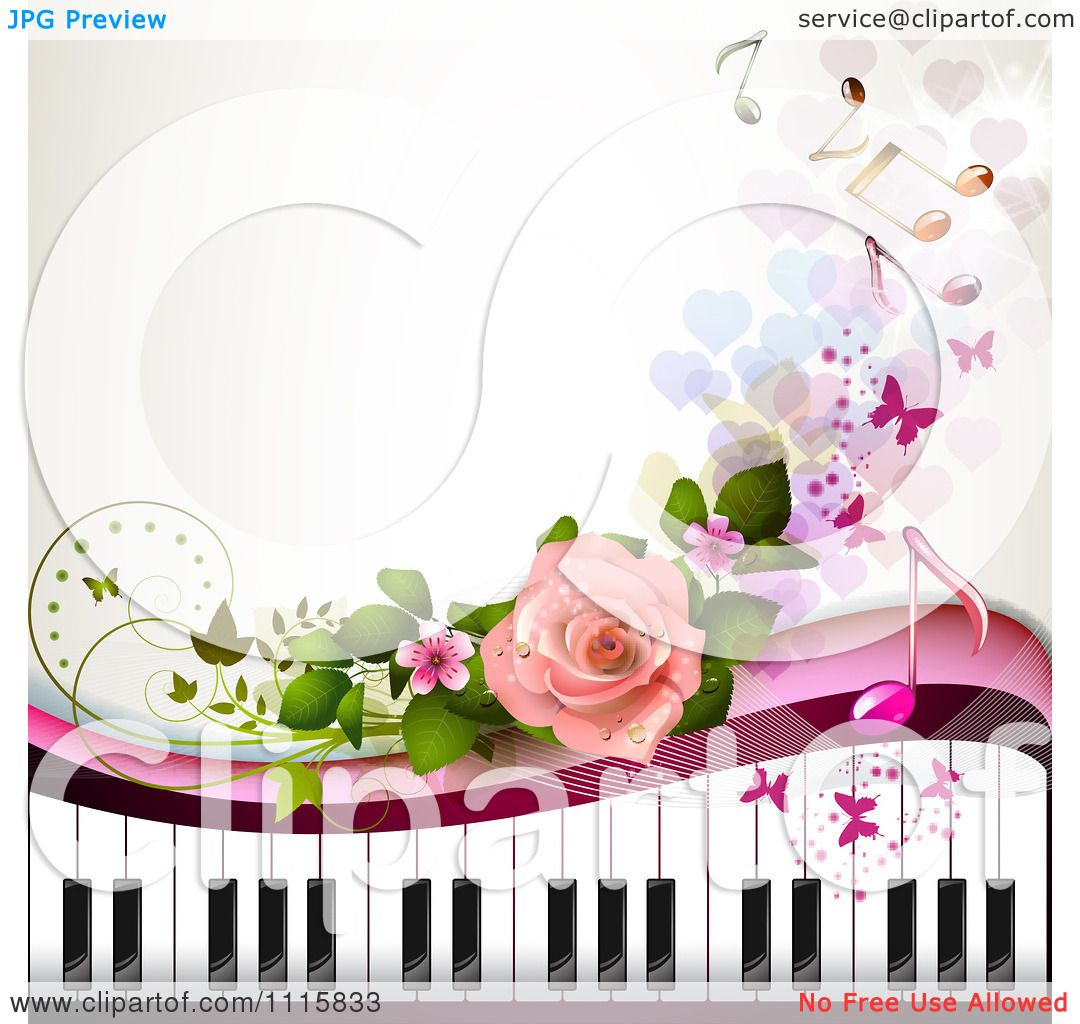 Clipart Piano Keyboard And Rose