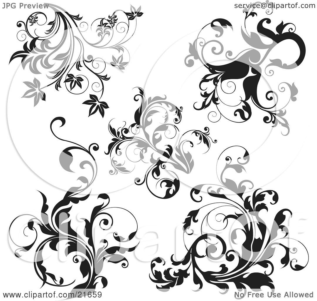 Clipart Picture Illustration of a Collection Of Black And ...