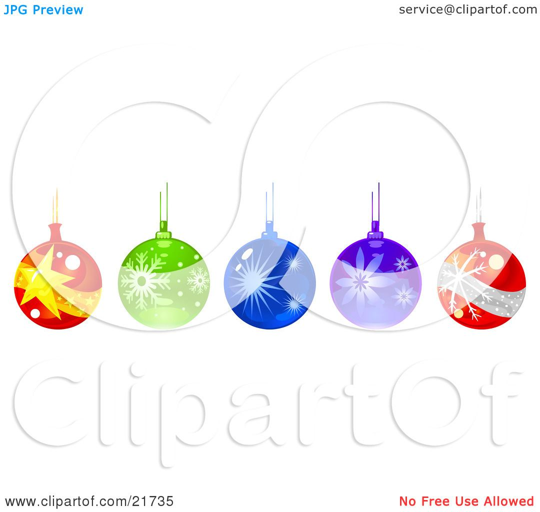Clipart Picture Illustration of a Row Of Hanging Glass Christmas ...