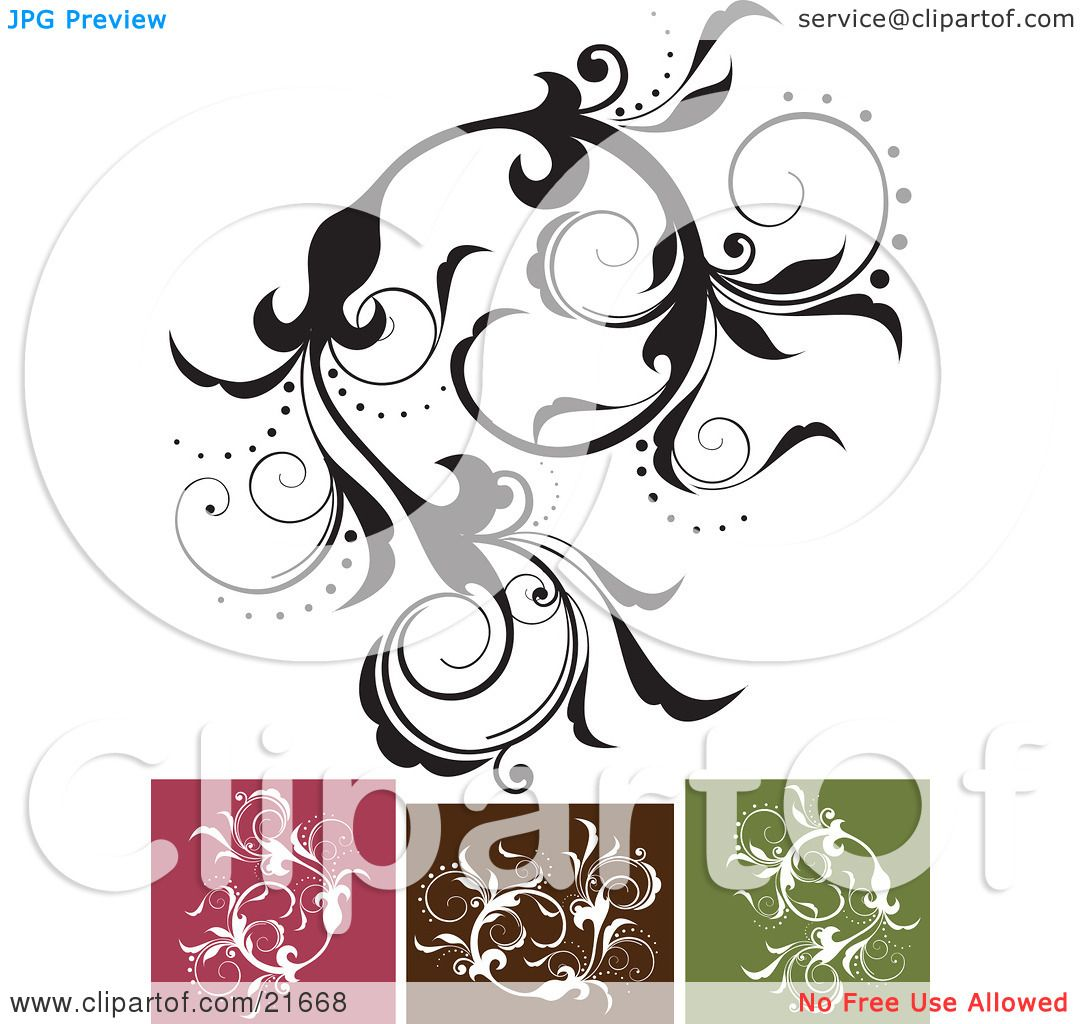 Clipart Picture Illustration Of An Intricate Vine With Beautiful