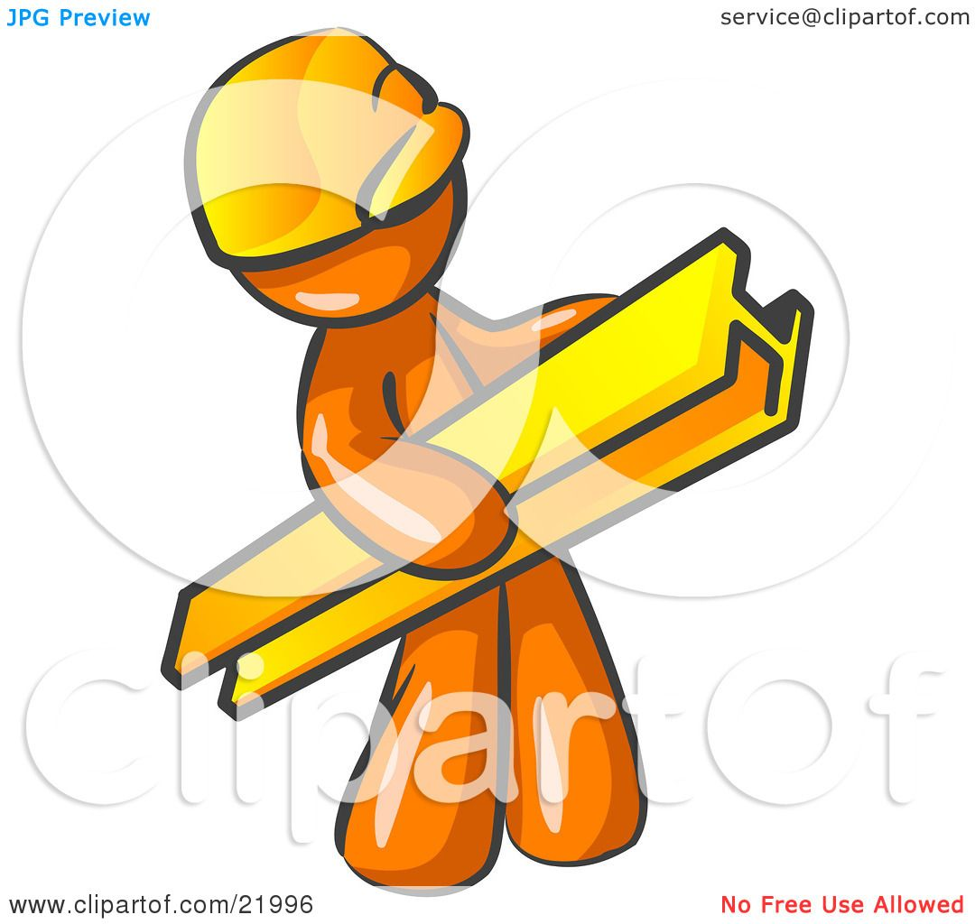 Clipart Picture Illustration Of An Orange Man Construction