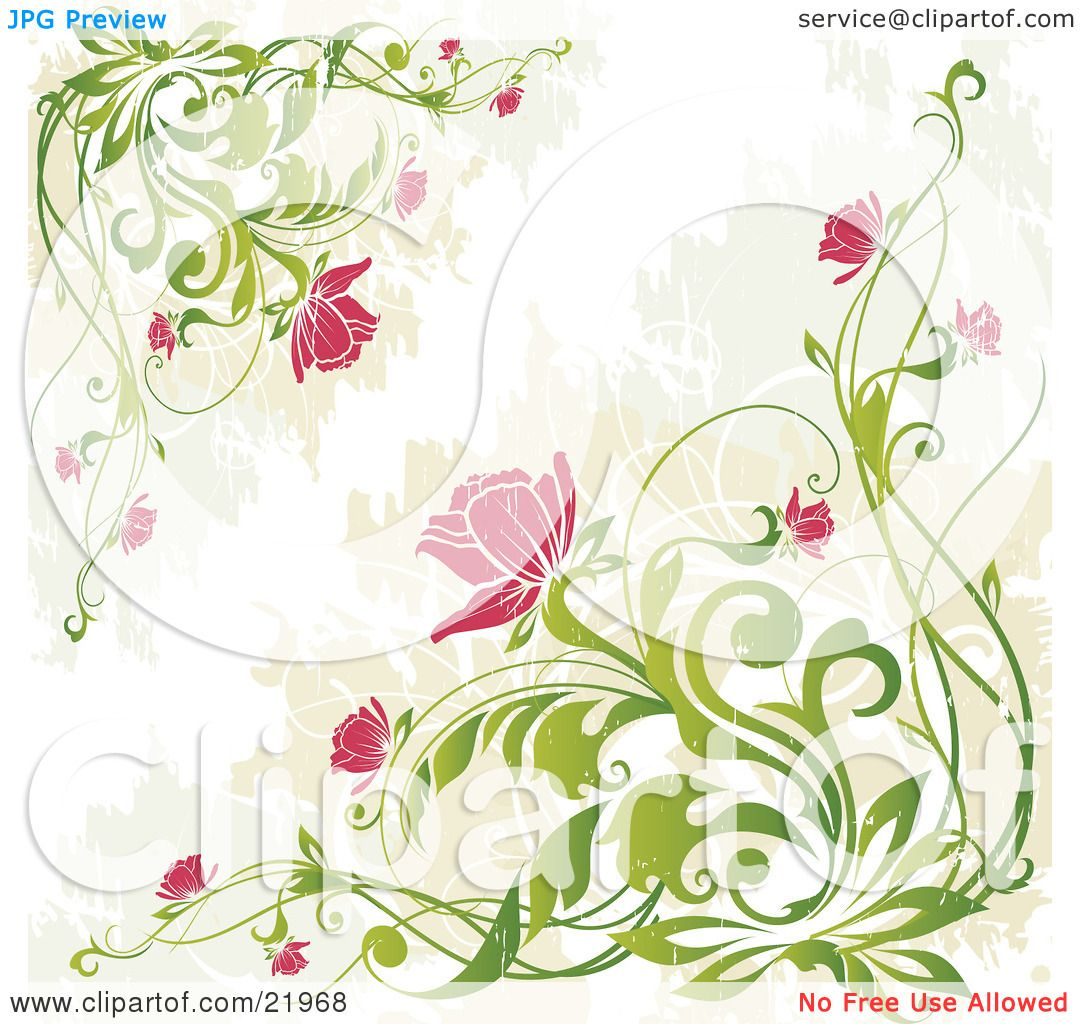 Spring Green Leaves And Flowers Background With Plants: Clipart Picture Illustration Of Corners Of Leafy Green
