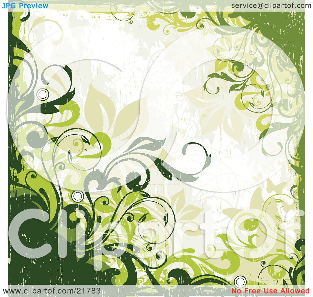 Clipart Picture Illustration of Green Vines, Circles And ... | 1080 x 1024 jpeg 181kB