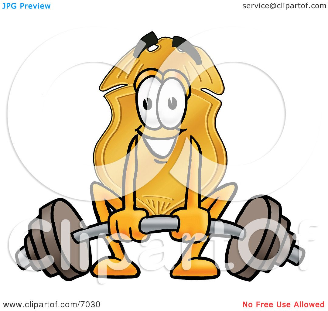 ... Badge Mascot Cartoon Character Lifting a Heavy Barbell by Toons4Biz