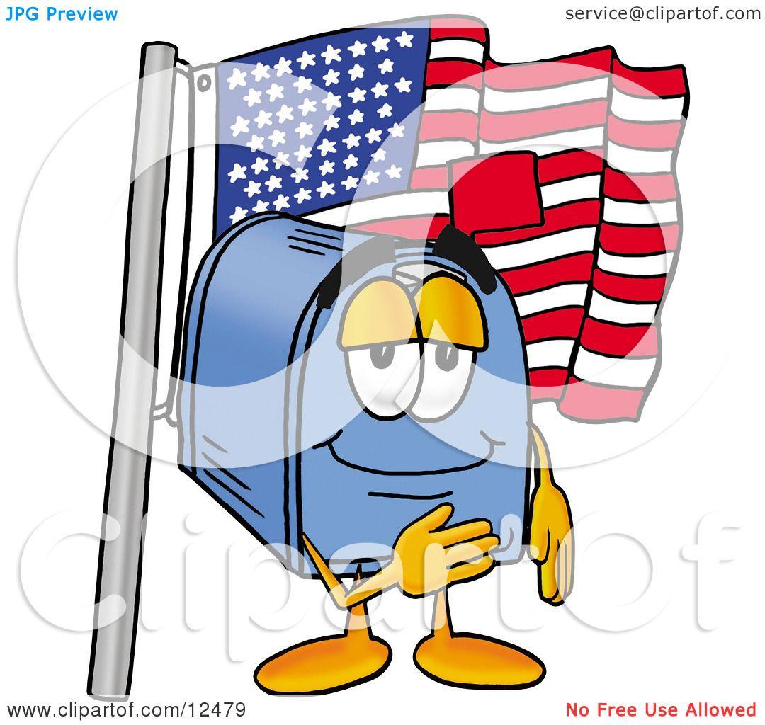 clipart picture of a blue postal mailbox cartoon character pledging rh clipartof com Street Clip Art Mailbox Envelope Clip Art