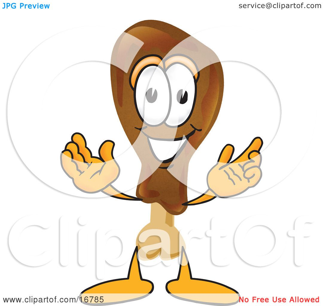 Clipart Picture of a Chicken Drumstick Mascot Cartoon Character With ...