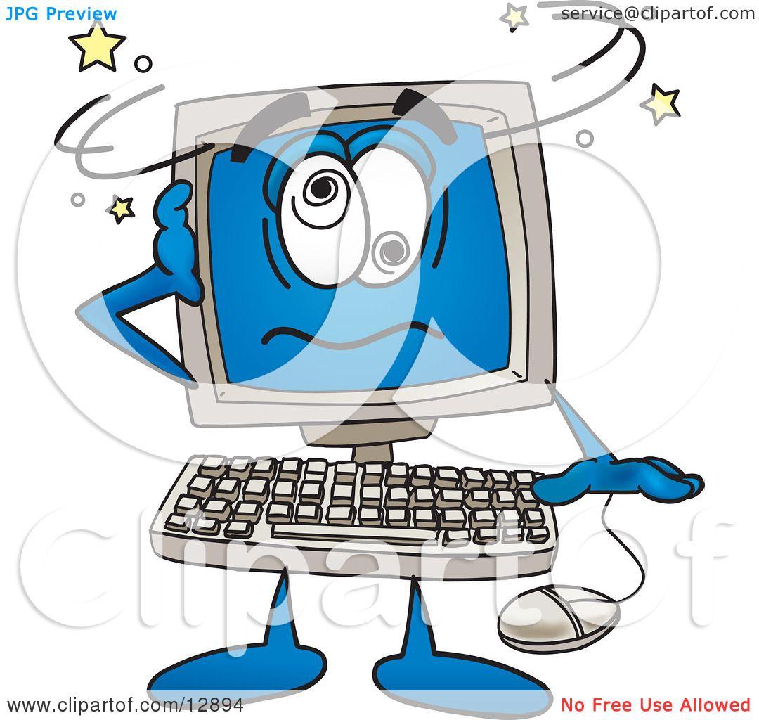 Clipart Picture of a Desktop Computer Mascot Cartoon ...