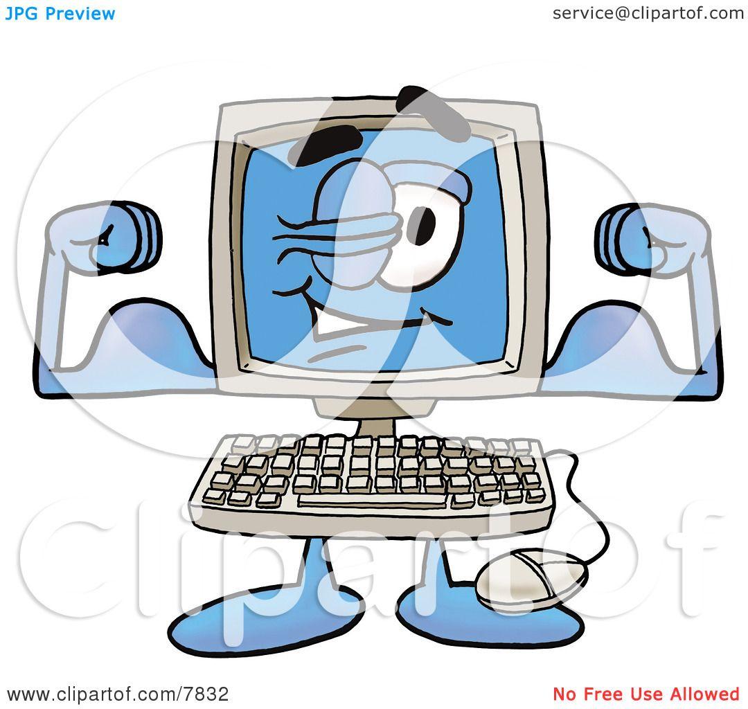 Clipart Picture Of A Desktop Computer Mascot Cartoon