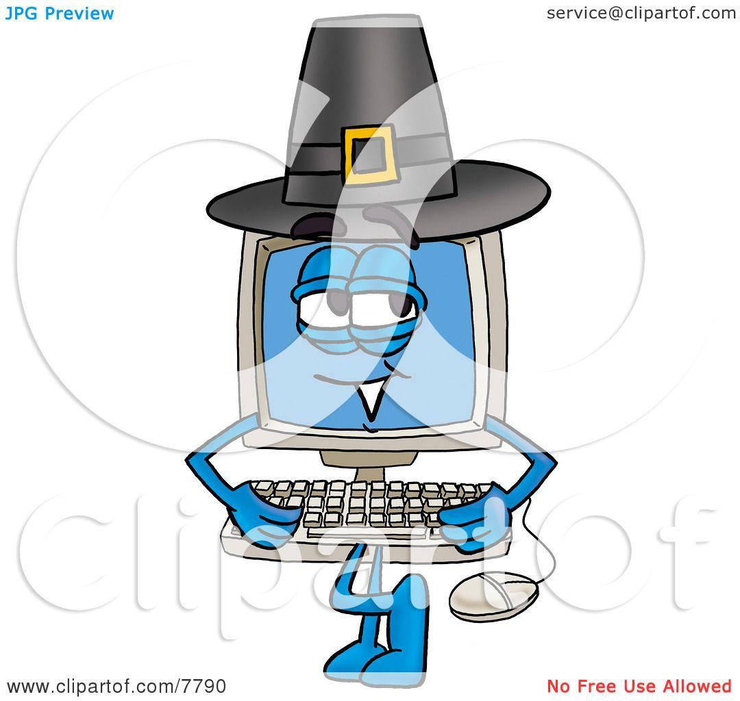 clipart picture of a desktop computer mascot cartoon character