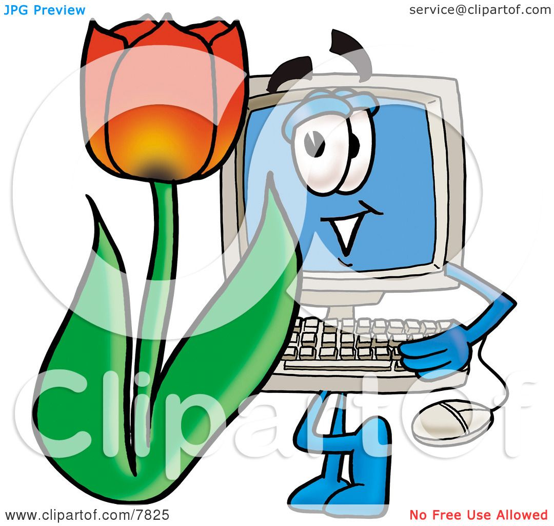 Clipart Picture of a Desktop Computer Mascot Cartoon Character ...