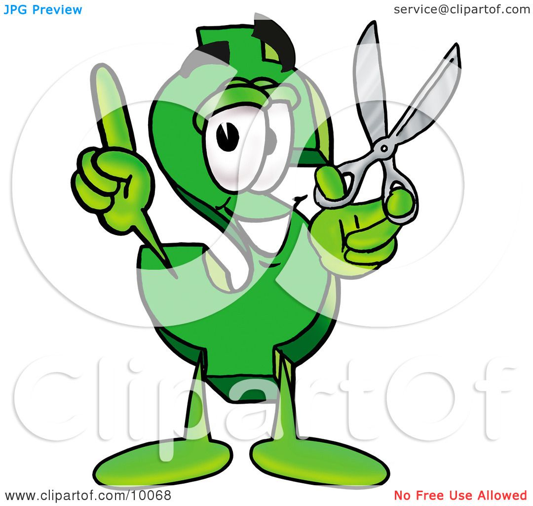 Clipart Picture of a Dollar Sign Mascot Cartoon Character