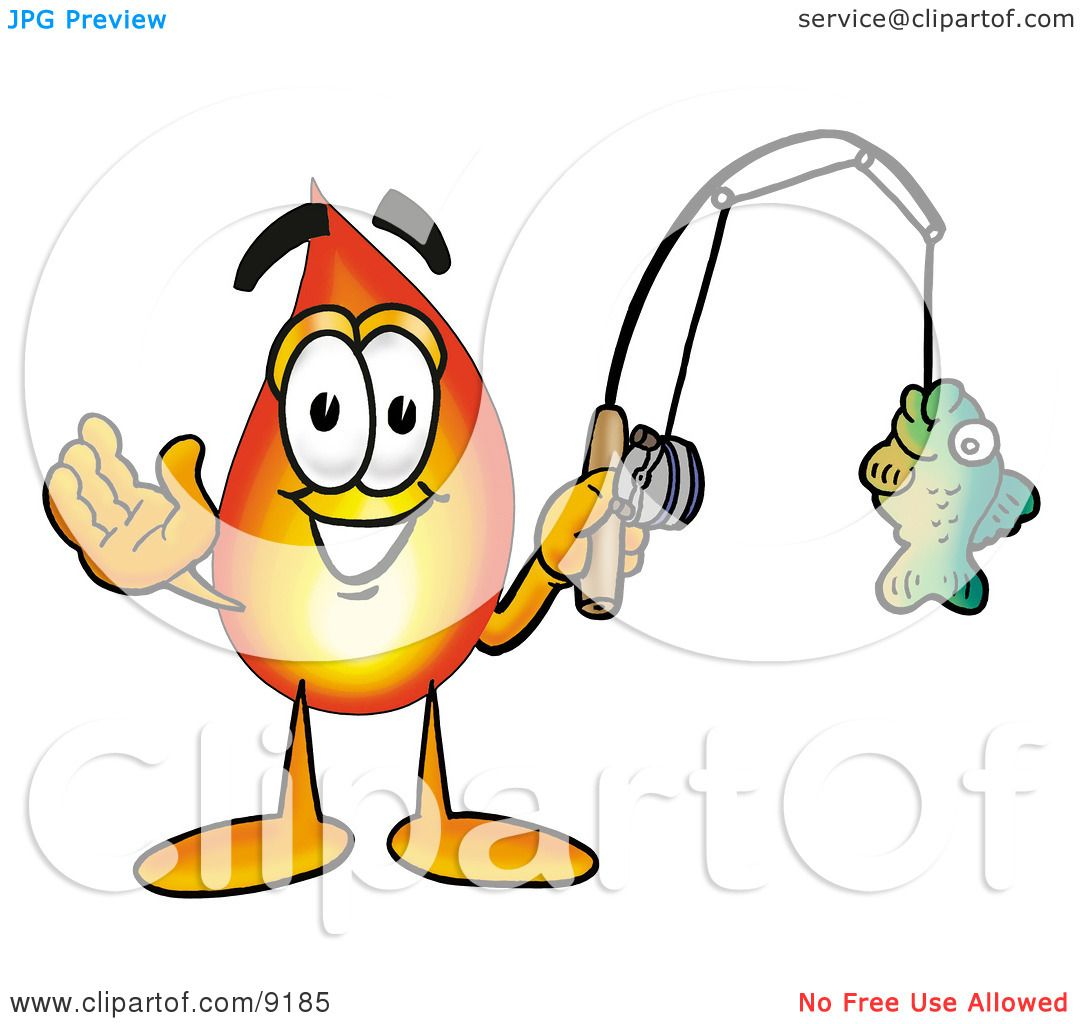 Clipart Picture of a Flame Mascot Cartoon Character